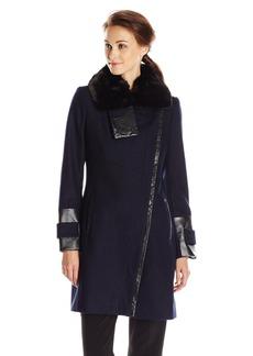 Via Spiga Women's Wool Coat with Faux Fur Collar