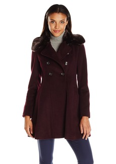 Via Spiga Women's Mid-Length Fit and Flare Double Breasted Wool Coat with Faux Fur Collar