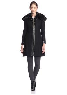 Via Spiga Women's Zip Coat with Faux Fur   US