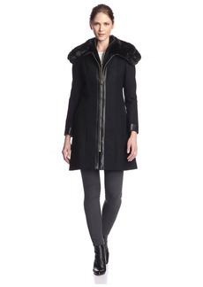Via Spiga Women's Zip Coat with Faux Fur   US