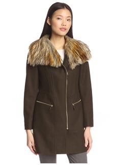 Via Spiga Women's Zip Front Coat With Faux Fur
