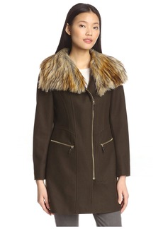 Via Spiga Women's Zip Front Coat with Faux Fur