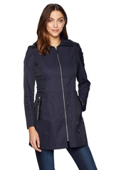 Via Spiga Women's Zip Front Hooded Fit and Flare Lightweight Trench Coat