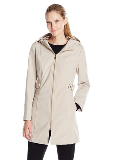 Via Spiga Women's Zip Front Hooded Walker Coat with Leopard Fleece Lining