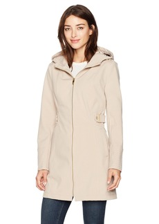 Via Spiga Women's Zip Front Hooded Walker Coat with Leopard Fleece Lining  XL