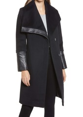 Via Spiga Wool and Faux Leather Coat