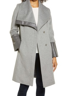Via Spiga Wool and Faux Leather Coat