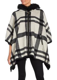 Via Spiga Wool Blend Check Printed Cape