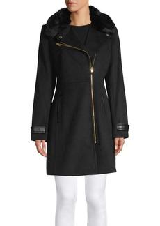 Via Spiga Wool-Blend Faux Fur Jacket
