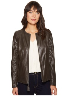 Via Spiga Zip Collarless Jacket with Knit Trim