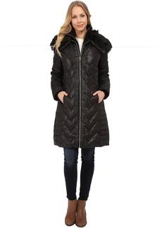 Via Spiga Zip Front Down Coat w/ Contrast Faux Fur On Collar