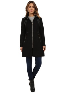 Via Spiga Zip Front Wool Coat w/ PU Detailing