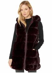 Via Spiga Wide Grooved Faux Fur Reversible Hooded Vest