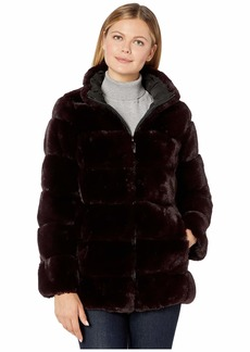 Via Spiga Wide Grooved Faux Fur Stand Collar Reversible Coat