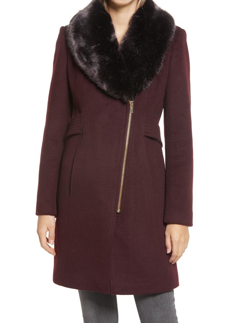 Women's Via Spiga Asymmetrical Wool Coat With Faux Fur Collar