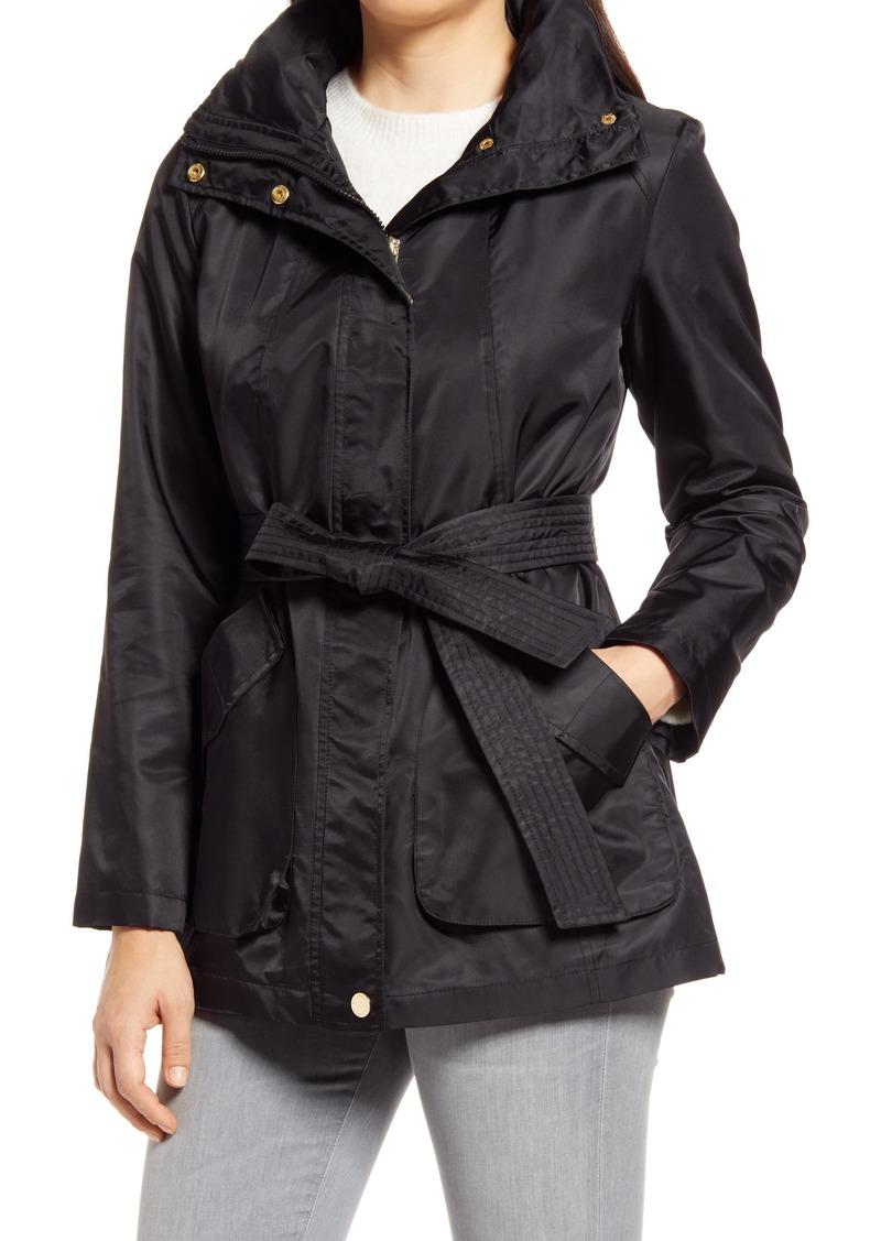 Women's Via Spiga Belted Water Repellent Hooded Raincoat