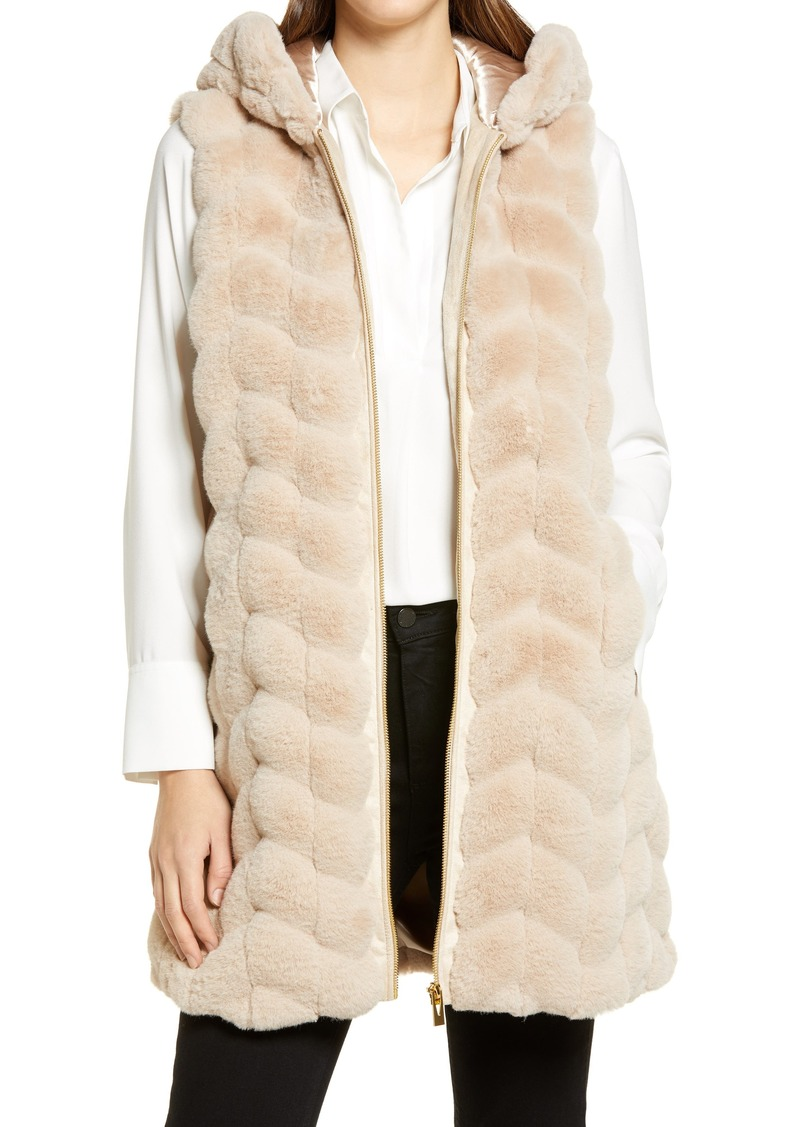 Women's Via Spiga Chevron Hooded Faux Fur Vest