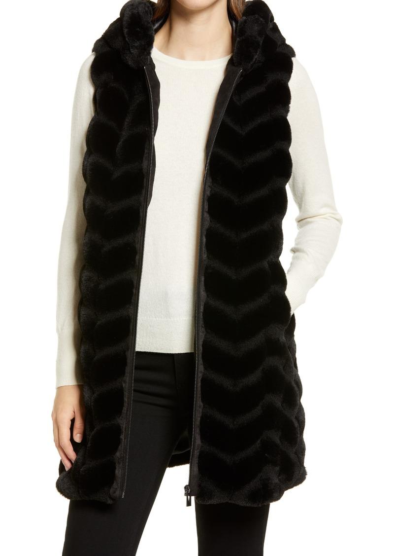 Via Spiga Chevron Hooded Faux Fur Vest