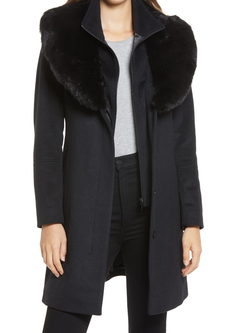 Women's Via Spiga Faux Fur Collar Wool Blend Coat