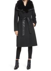 Women's Via Spiga Faux Fur Trim Belted Wool Blend Coat
