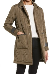 Women's Via Spiga Herringbone Quilted Coat