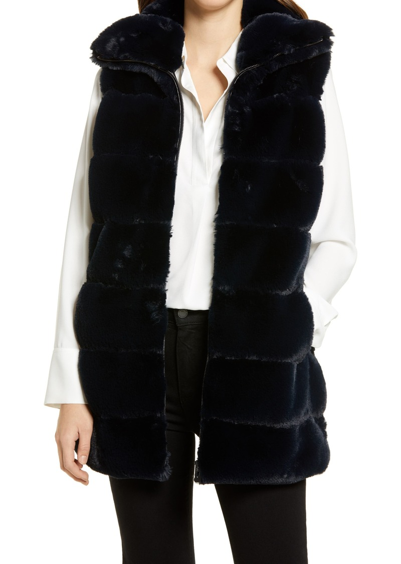 Women's Via Spiga Hooded Faux Fur Vest