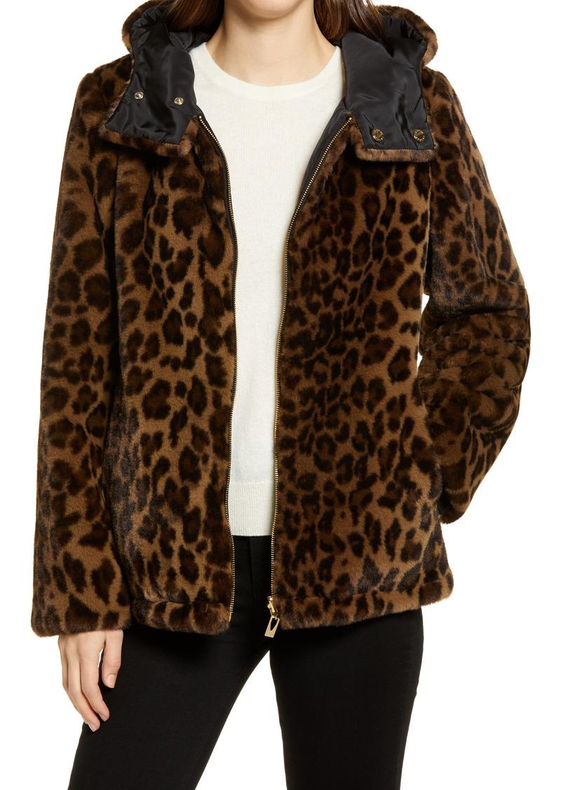 Women's Via Spiga Leopard Print Hooded Reversible Faux Fur Jacket
