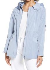 Women's Via Spiga Packable Water Repellent Hooded Rain Jacket