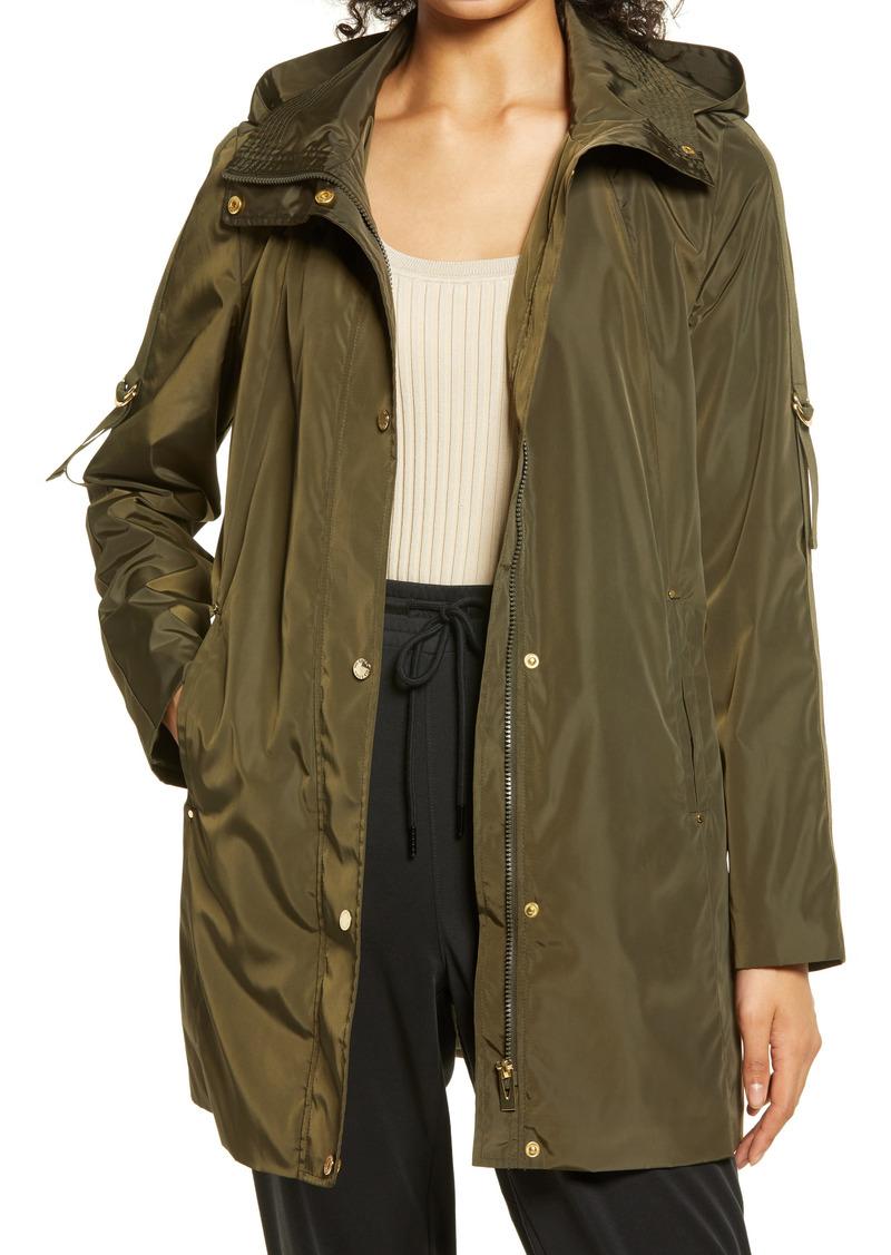 Women's Via Spiga Packable Water Repellent Hooded Raincoat