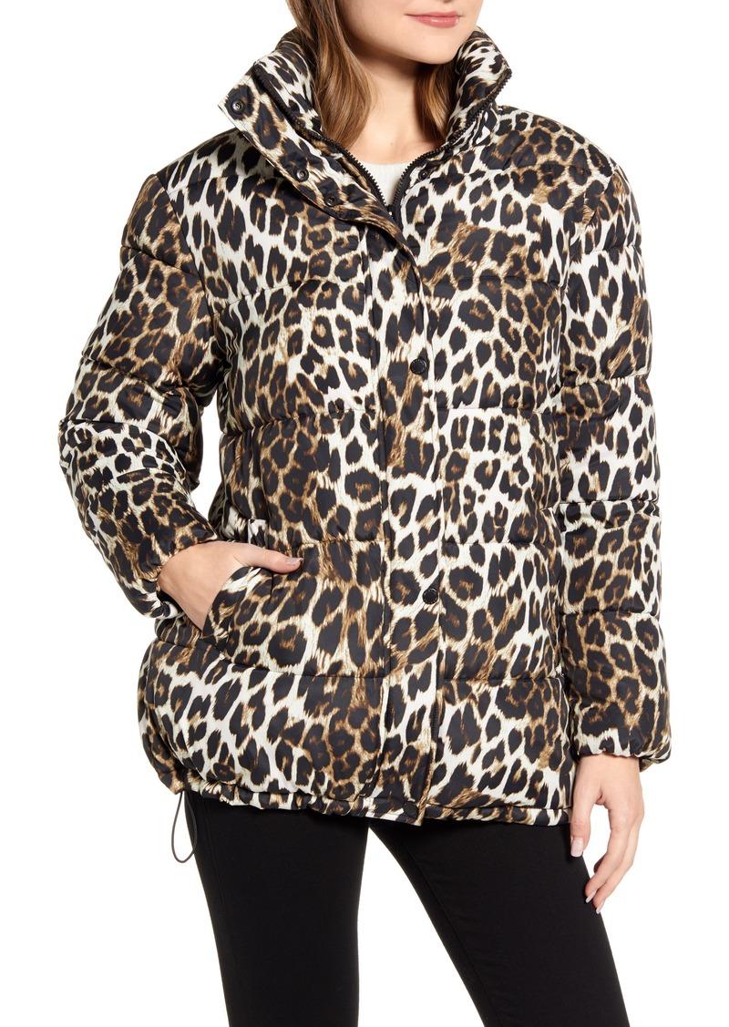 Women's Via Spiga Stand Collar Water Resistant Leopard Print Puffer Coat