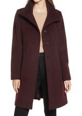 Women's Via Spiga Stand Collar Wool Blend A-Line Coat