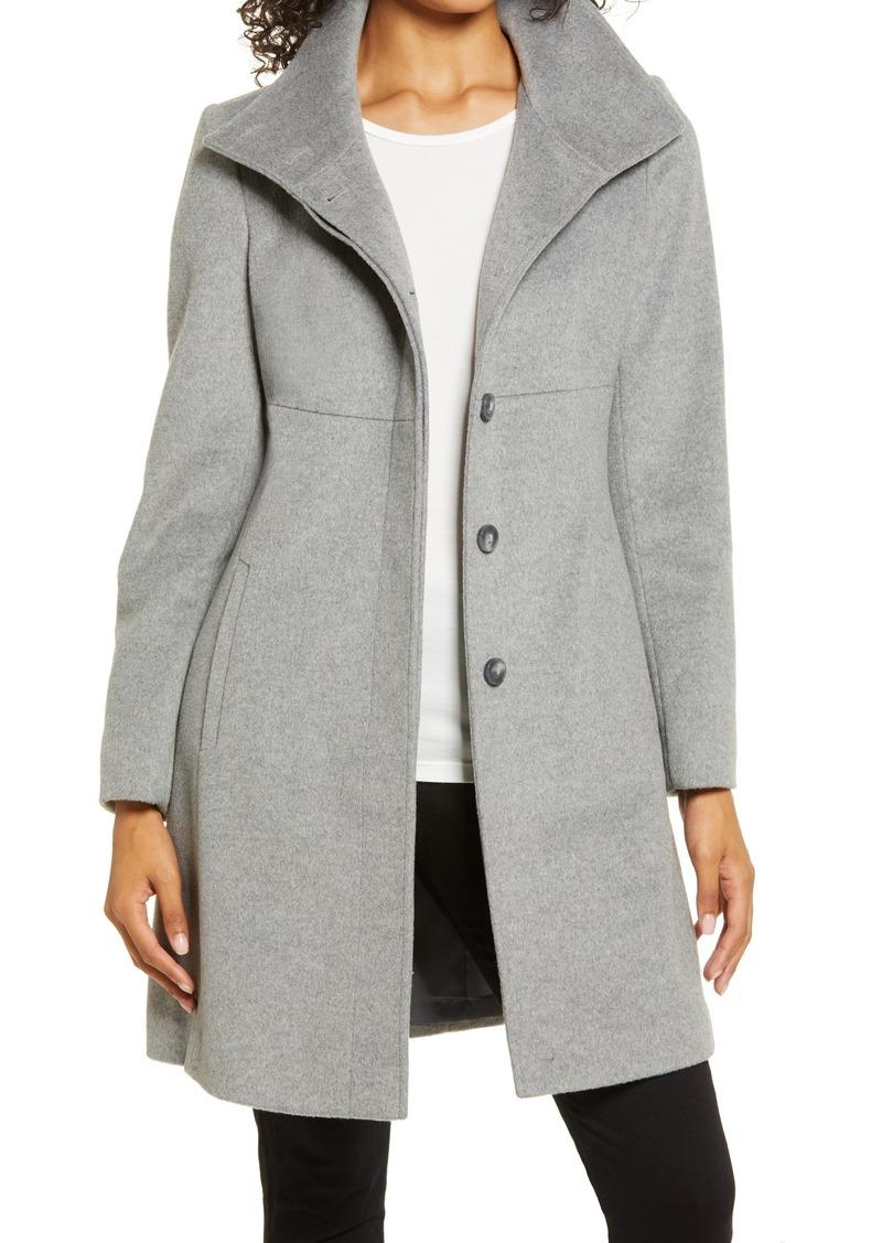 Women's Via Spiga Stand Collar Wool Blend Coat