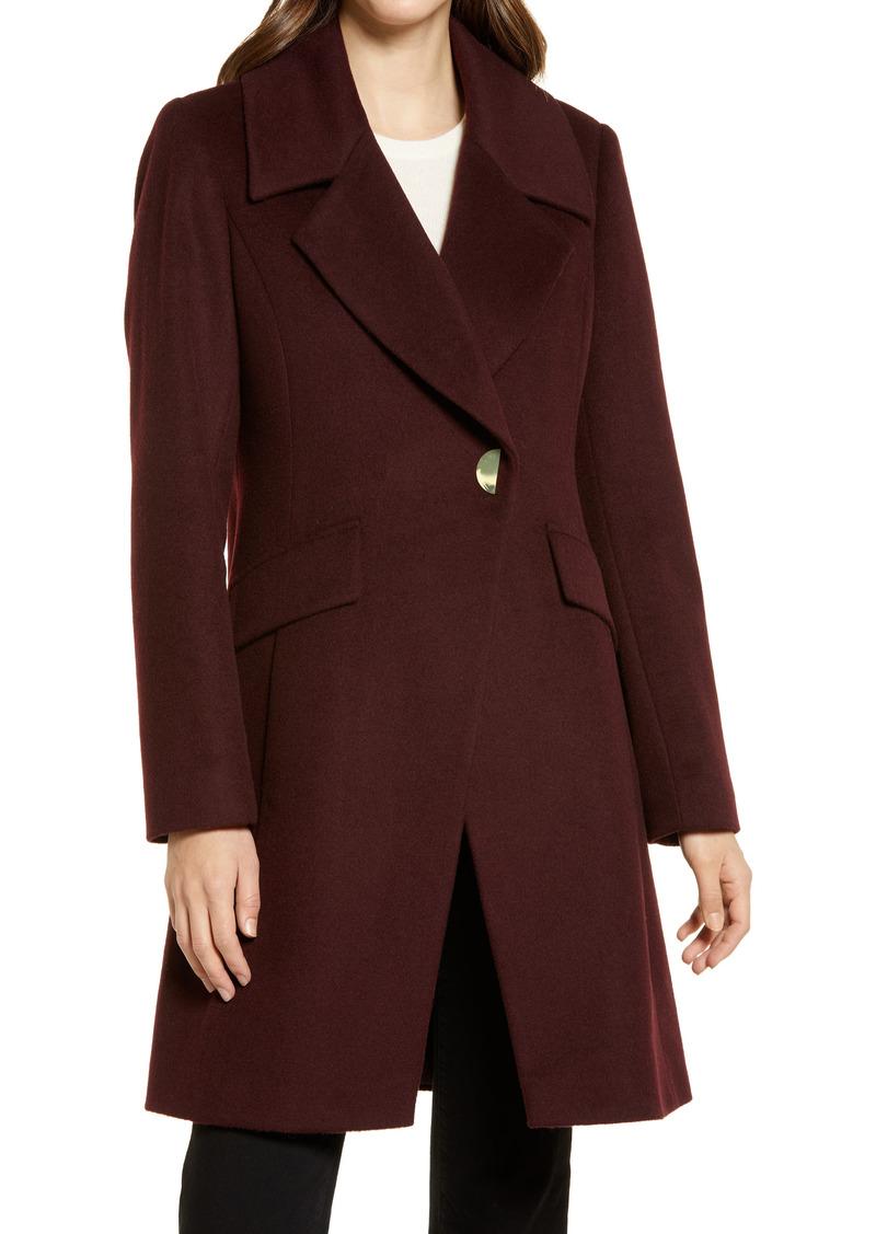 Women's Via Spiga Symmetrical Snap Front Wool Blend Coat