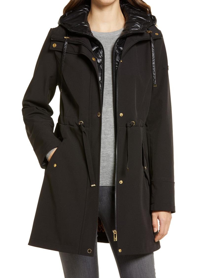 Women's Via Spiga Water Repellent Coat With Quilted Hooded Liner