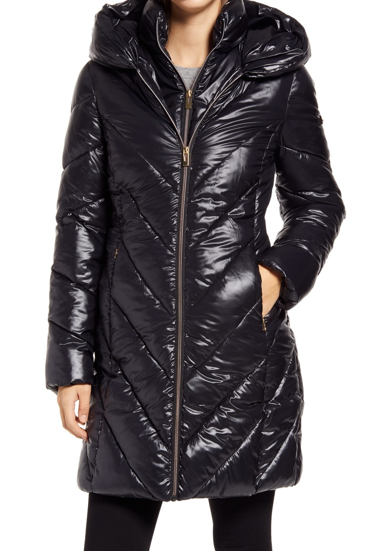 Women's Via Spiga Water Resistant Bib Insert Hooded Puffer Coat