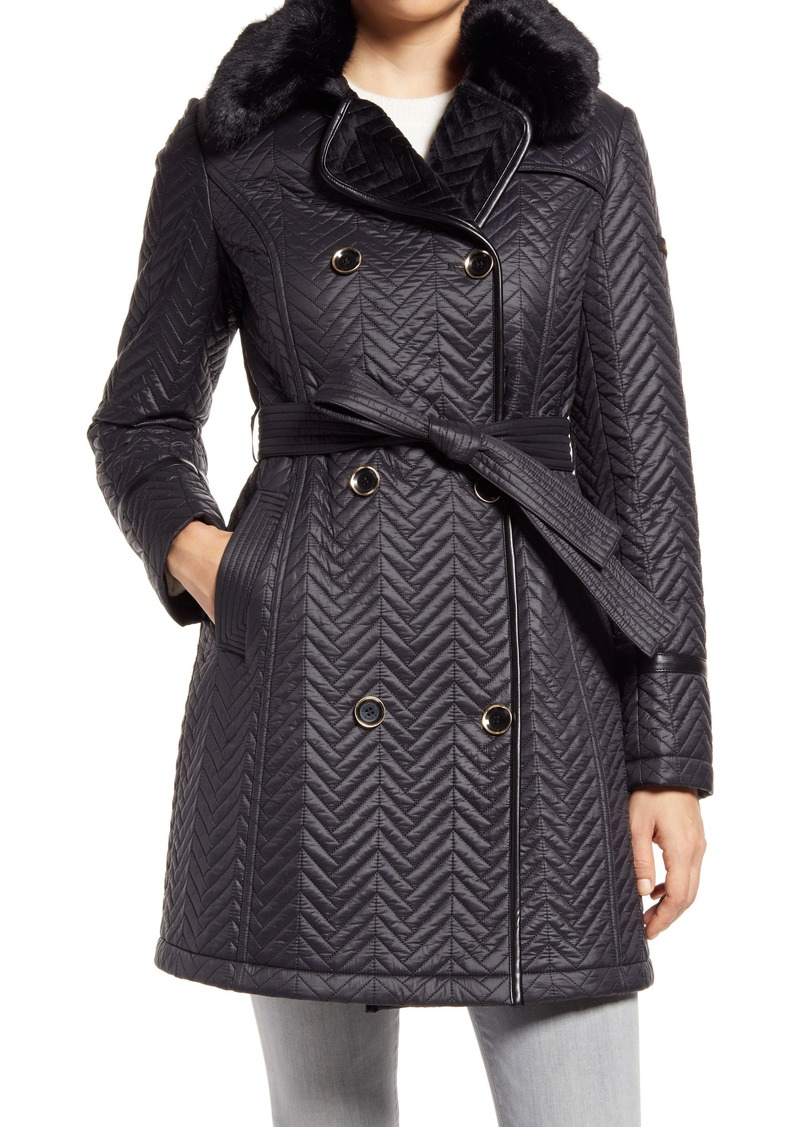 Women's Via Spiga Water Resistant Double Breasted Faux Fux Collar Quilted Coat