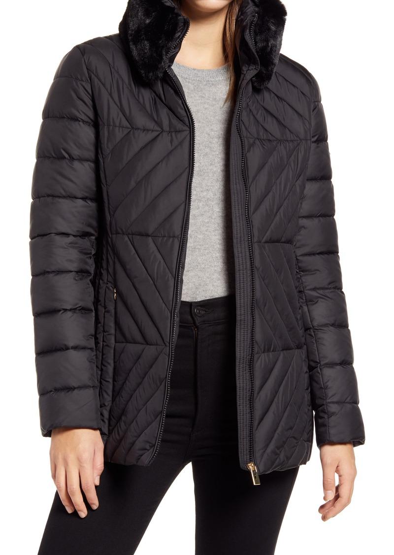 Women's Via Spiga Water Resistant Faux Fur Collar Puffer Coat