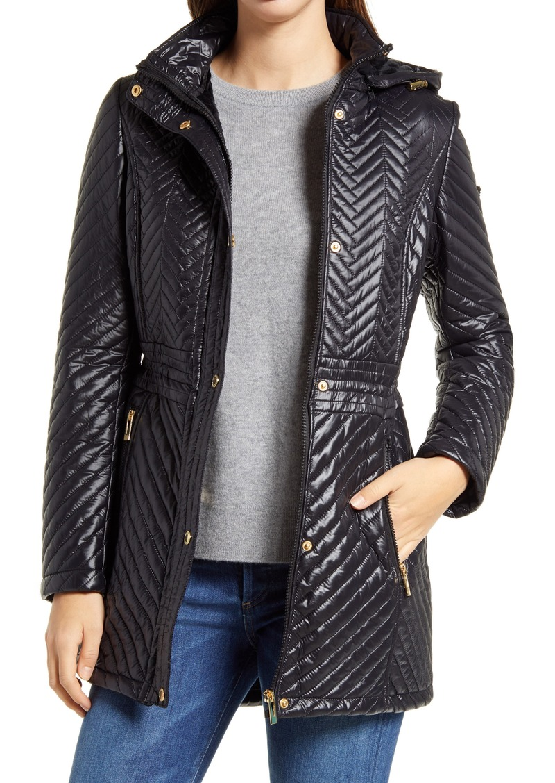 Women's Via Spiga Water Resistant Quilted Coat With Removable Hood