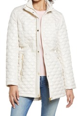 Women's Via Spiga Water Resistant Quilted Jacket With Removable Hood