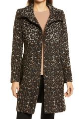 Women's Via Spiga Wool Print Long Coat