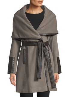 Via Spiga Wrap-Style Pea Coat W/ Faux Leather Trim