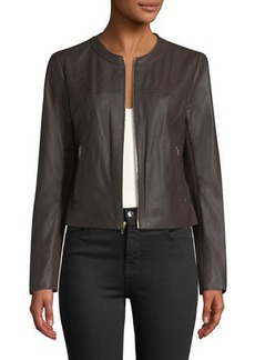 Via Spiga Zip-Front Leather Jacket