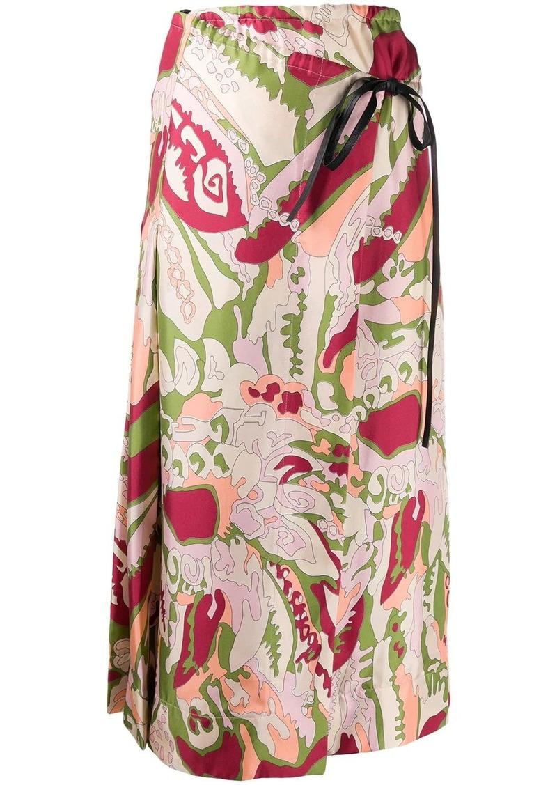 Victoria Beckham abstract print silk wrap skirt