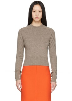 Victoria Beckham Brown Cashmere Cropped Sweater