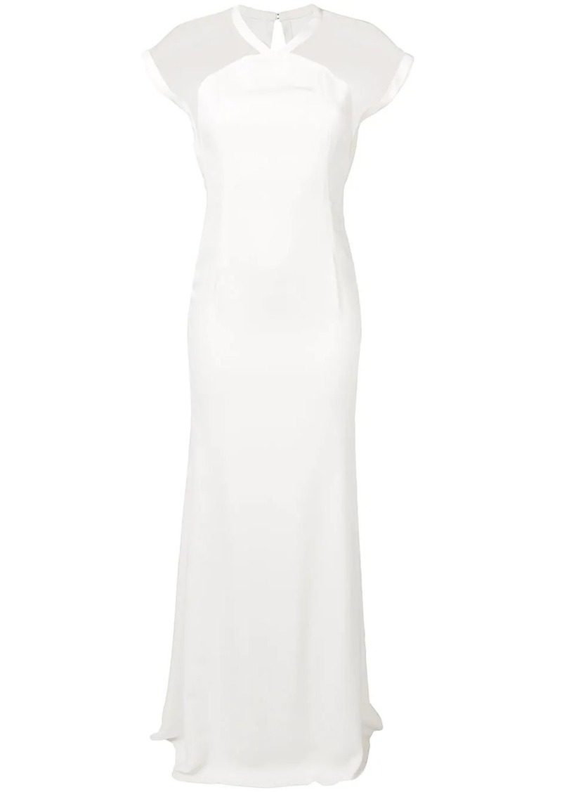 Victoria Beckham cap sleeve floor length dress