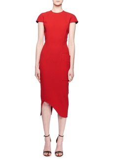 Victoria Beckham Cap-Sleeve Jewel-Neck Fitted Cocktail Dress w/ Side Pocket