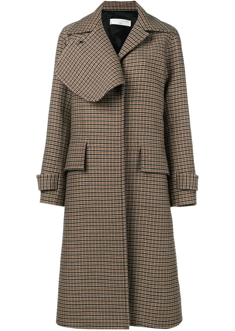 Victoria Beckham check flap lapel coat