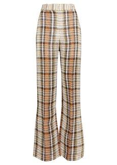 Victoria Beckham Checkered Split Hem Linen Trousers
