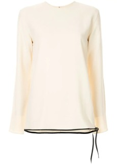 Victoria Beckham classic ls top with leather trim