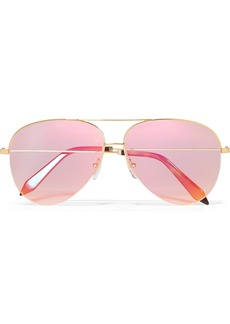 Victoria Beckham Classic Victoria aviator-style gold-tone holographic sunglasses